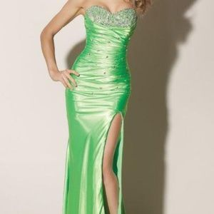 Mori Lee Lime Green Strapless Graduation Dress